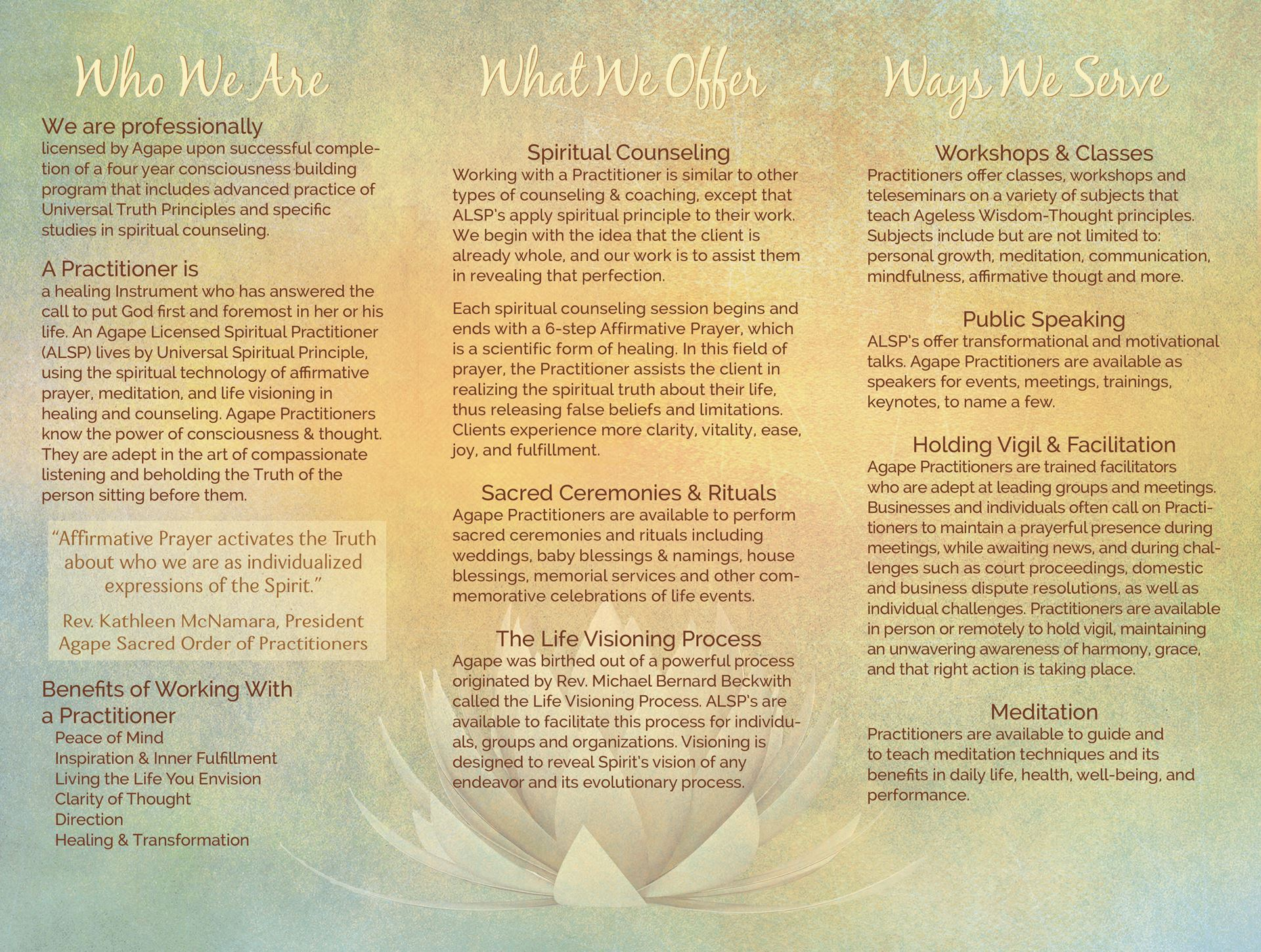 Agape Practitioners - Who We Are